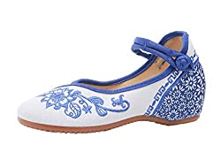 Patterned Blue Mary Jane-Style Flats