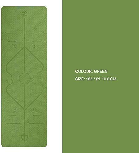 QZ 147258 Yoga Mat TPE con la Posizione Body Line Antiscivolo insapore Mat Fitness Pilates Carpet Ginnastica tappetini Pad 183cmx61cmx6mmYoga Mats, Dimensioni: 183 x 61 x 0,6 Centimetri, Colore: Rosa