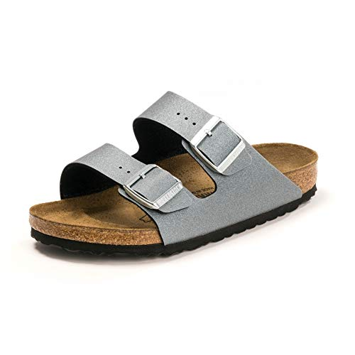 BIRKENSTOCK Damen Arizona BF normal Sandalen Weinrot, Eisig Metallisch Anthrazit, 40 EU