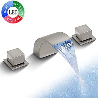 SKOWLL Waterfall Bathroom Faucet LED Waterfall Tub Faucet 3 Colors Change Dual Handle 3 Holes Bathtub Faucet with Lights, Brushed Nickel Finished