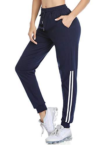Doaraha Pantalon de Survêtement Femme, Pantalon Décontractés de Sport Long en Coton 100%, Pantalon de Gym Femme de Élastique à Cordon, Pantalon Taille Haute d'Entraînement Fitness, Bleu Marin, S