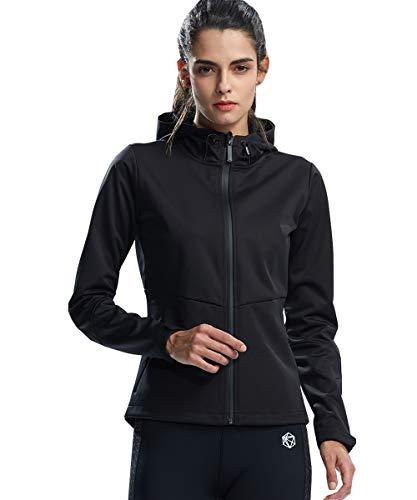 SILIK damskie sportowe bluzy z kapturem z długim rękawem bluza lekki płaszcz sweter z zamkiem błyskawicznym czarny mały