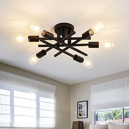 ASGYISA Semi Flush Mount Modern Ceiling Light Fixture, Black Vintage Metal Sputnik Chandelier, Ceiling Lighting with 6 Lights E26 Bulb Base Suitable for Dining Room Living Room Bedroom Foyer Kitchen