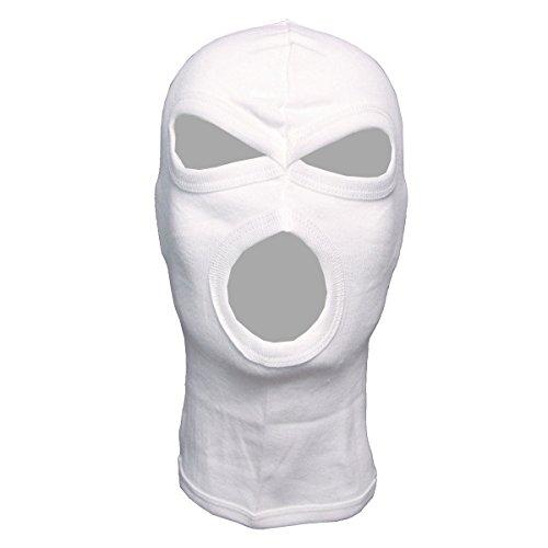 MFH 3-Loch Balaclava Dünn Baumwolle Sturmhaube Maske Skimaske Sturmmaske viele Farben (Weiß)