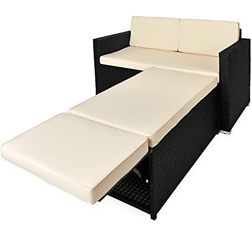 Conjunto de sofá dos plazas de poli-ratán para exteriores con otomana de...