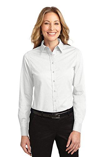 Port Authority Long Sleeve Shirt (L608) White/Light Stone, S