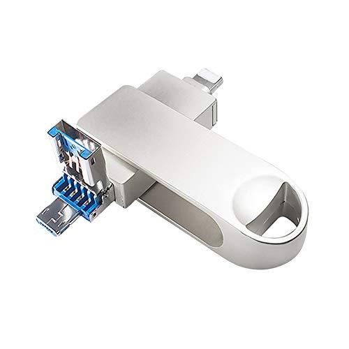 Clé USB 3 en 1 compatible avec iPhone, clé USB de sauvegarde avec micro USB pour téléphones Android/PC (256 Go, Argent)