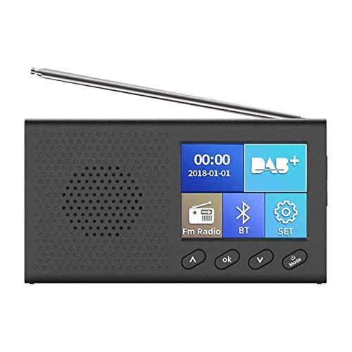 Lsmaa Radio Digital con 2,4 Pulgadas de Pantalla LCD a Color Recargable MP3 estéreo Salida de reproducción Antena telescópica, Apta for la Pesca Viajes de Campamento Ciclismo
