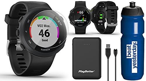 Garmin Forerunner 45 (Black) Running GPS Watch Runner Bundle | +Garmin Water Bottle, HD Screen Protectors & PlayBetter Portable Charger | Garmin Coach, Heart Rate, Body Battery, Smart Notifications