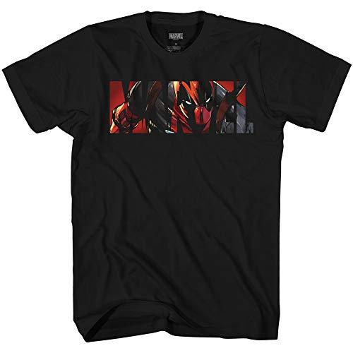 Deadpool Logo Fill Funny Humor Pun Avengers X-Men Dead Pool Graphic Men's Adult T-Shirt Tee Apparel (Black, Small)