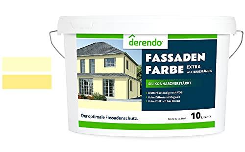 Derendo Fassadenfarbe gelb 2,5l mit EXTRA hohem Wetterschutz, matte silikonharzverstärkte Fassaden Farbe, hohe Deckkraft und gute Füllkraft bei kleinen Rissen (Buttergelb 7-21)