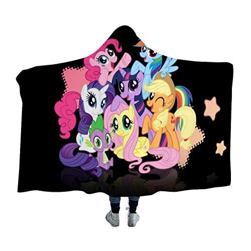 Hooded Blanket,Applejack Dragon Fluttershy Pie Rainbow Dash Rarity Twilight Sparkle,Arctic velvet Wearable Super Soft Warm Throw Blanket,For Winter Sofa School Home Travel Picnic Carrying,59x79 inch