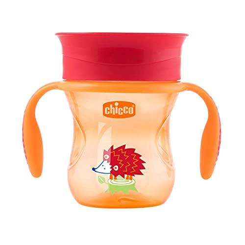 Chicco Perfect Cup Primo Bicchiere per Bambini 200 ml, 1 Tazza Biberon 12+ Mesi per Imparare a Bere, con Membrana in Silicone a 360° e Manici Rimovibili, senza BPA - Verde o Arancione