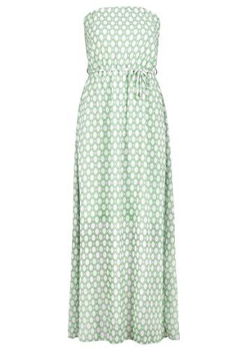 Sublevel Damen Maxi Bandeau-Kleid Schulterfrei mit Muster Light-Green M/L