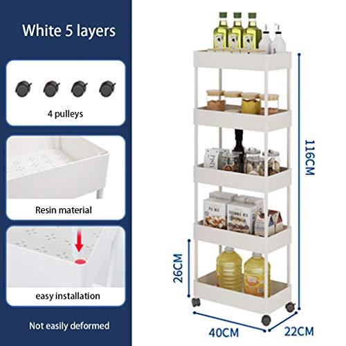 Rack Badkamer Rack Floor Multi-layer badkamer Toilet winkelwagen Slot Storage Rack Keuken Koelkast Clip Storage Rack (Color : White 5 layers)