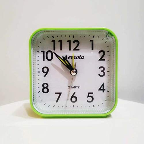 Newpowa Small Battery AA Operated Analog Travel Alarm Clock Silent No Ticking, Lighted on Demand and Snooze, Beep Sounds, Gentle Wake, Ascending Alarm, Easy Set (Green)