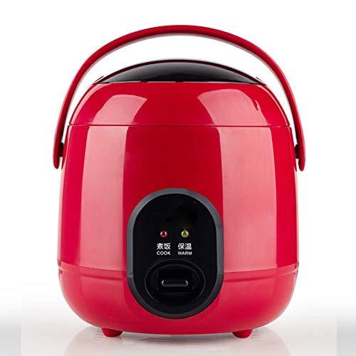 AILY 1.2L Elektrischer Reiskocher, Mini-Lebensmitteldampfer Doppelsicherheitsschnalle Tragbare Nahrungsmittelheizung Dampfer Kochen Brei Nahrhafte Für Zuhause,Rot