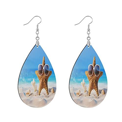 1 paio di orecchini a goccia a forma di stella marina Seashell sulla spiaggia in legno dipinto orecchino goccia per le donne