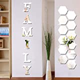 18 Pieces Acrylic Mirror Wall Stickers Family Sign Letters Rustic Farmhouse Wall Decor Removable Acrylic Mirror Setting Wall Sticker Decal for Living Room Bedroom Kitchen Decorations (Silver)