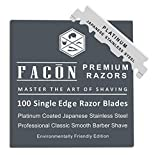 100Facón Platinum Japanese Stainless Steel Single Edge Razor Blades for Professional Barber Straight Razor - 200+ Shaves