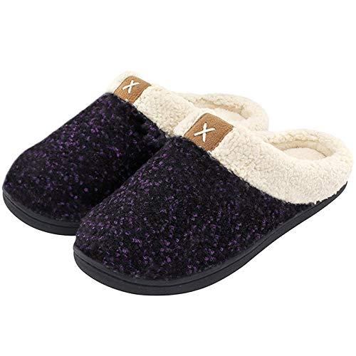 ULTRAIDEAS Women's Cozy Memory Foam Slippers Fuzzy Wool-Like Plush Fleece Lined House Shoes w/Indoor, Outdoor Anti-Skid Rubber Sole (7-8, Purple)