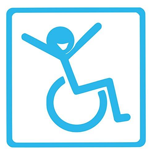 【全16色】車椅子マーク/車イス サイン/カー ステッカー/Car/リラックス/車用/シール/ Vinyl/Decal /バイナル/デカール/-2 (スカイブルー) [並行輸入品]