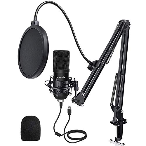 Panamalar USB PC Mikrofon Lärmminderung, Kondensator Mikrofon Kit 192 kHZ/24bit mit Mikrofonständer Mikrofonarm Popschutz, Studio Podcast Mikrofon für Aufnahmen/Rundfunk/Gaming PS4/Livestream/Vlog