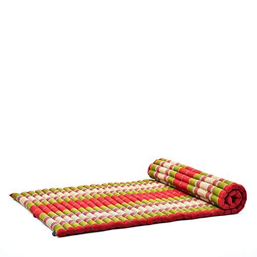 Leewadee XL Materassino Thai Arrotolabile, 200x105x5 cm, Materasso Ospite Tappetino Yoga Tappetino Massaggio Prodotto Naturale Ecologico, Kapok, Rosso Verde