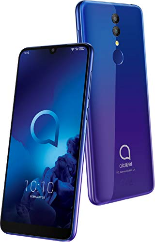 """Alcatel 3 (2019) smartphone (pantalla 5,94"""", 64GB RAM, 32GB memoria interna, Dual SIM, doble cámara frontal 13 Mpx + 5 Mpx, cámara selfie 8 Mpx, batería 3.500 mAh, Android), color Azul y Púrpura."""