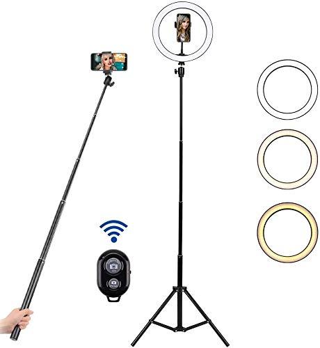 Instelbare ringlamp met telefoonhouder en op afstand bedienbare led-lichtring met statief voor YouTube, make-up, fotostudio.