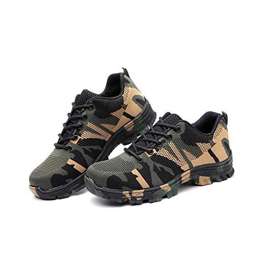 Stahlkappe Arbeitsschuhe Herren, Morbuy Atmungsaktiv Sicherheitsschuhe Leicht Damen Sportlich Schuhe Trekking Mesh Schutzschuhe Gummi Sneaker (46 EU,Grün)