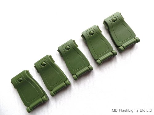 MD FlashLights Etc Ltd 5 X Vert Pom Sangle Molle Boucle pour Le Transport DE Charge/Fixation IDéAL pour BUSHCRAFT Survie &