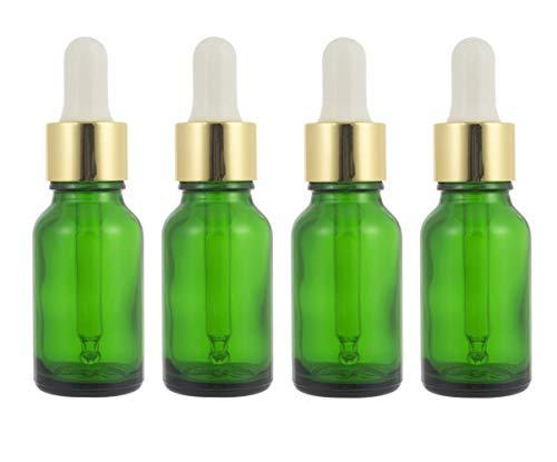 4 PCS 15ML 0.5OZ vide flacon compte-gouttes en verre vert rechargeable avec tête en caoutchouc blanc et pipette parfum huile essentielle pot flacon titulaire récipient à cosmétiques