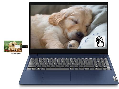 "Newest Lenovo IdeaPad 3 15.6"" HD Touch Screen Business Laptop, Intel Core i5-10210U Up to 4.2 GHz (Beats i7-8565U), 12GB RAM, 256GB SSD, Webcam, WiFi, HDMI, Windows 10 Pro,32GB Tela USB Card"