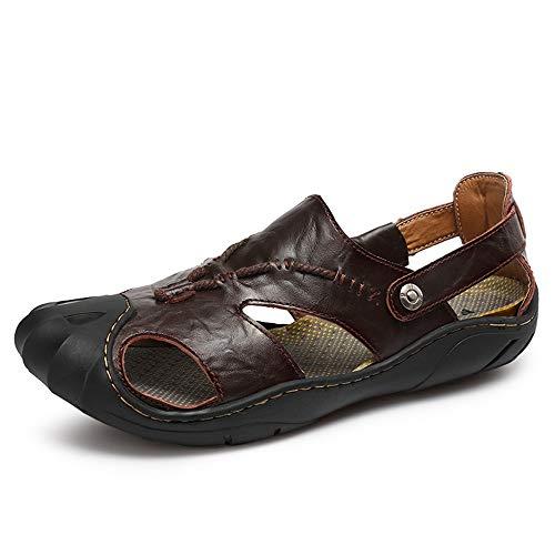 Sandali da Uomo per Il Tempo Libero Moda Outdoor Water Shoes Slip On Style Borsello in Pelle Anti-collisione Fresh And Simple Scarpe comode (Color : Marrone, Dimensione : 42 EU)