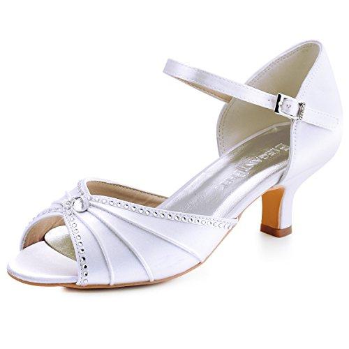 Elegantpark HP1623 Donna Peep Toe Tacco Basso Pieghe Strass Sandali di Raso Pompa i Pattini Vestito da Partito da Sera Bianco EU 39