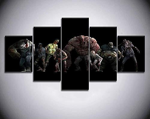 Decorsy Impresiones sobre Lienzo Left 4 Dead 2 Game Modern Wall Art 5 Piezas Wall Art Painting HD Print para Sala De Estar-100X55Cm -Enmarcado