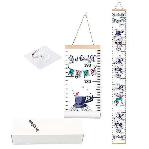 Bingolar tabla de crecimiento del bebé,tabla de altura de niños reglas de medición de lona para colgar en la pared para niños niños niñas decoración de la habitación de la guardería 7.9 x 79 pulgadas