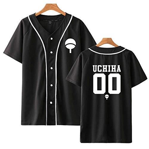 TSHIMEN Camisetas Hombre Slim fit Naruto Hot Fashion Último Anime Camiseta de Manga Corta para Hombres y Mujeres Unisex Camiseta de béisbol Uchiha Familia Ropa (1pcs No Incluye Perchas) Negro XL