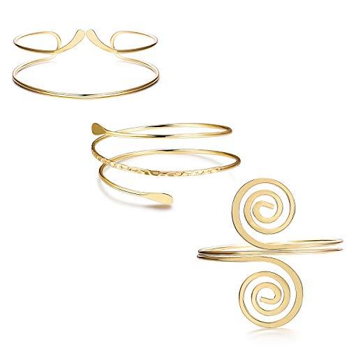 "FINREZIO 3Pcs Upper Arm Bracelet Open Cuff Armlets Simple Coil Swirl Armband Jewelry Set Dia.3"" Adjustable"