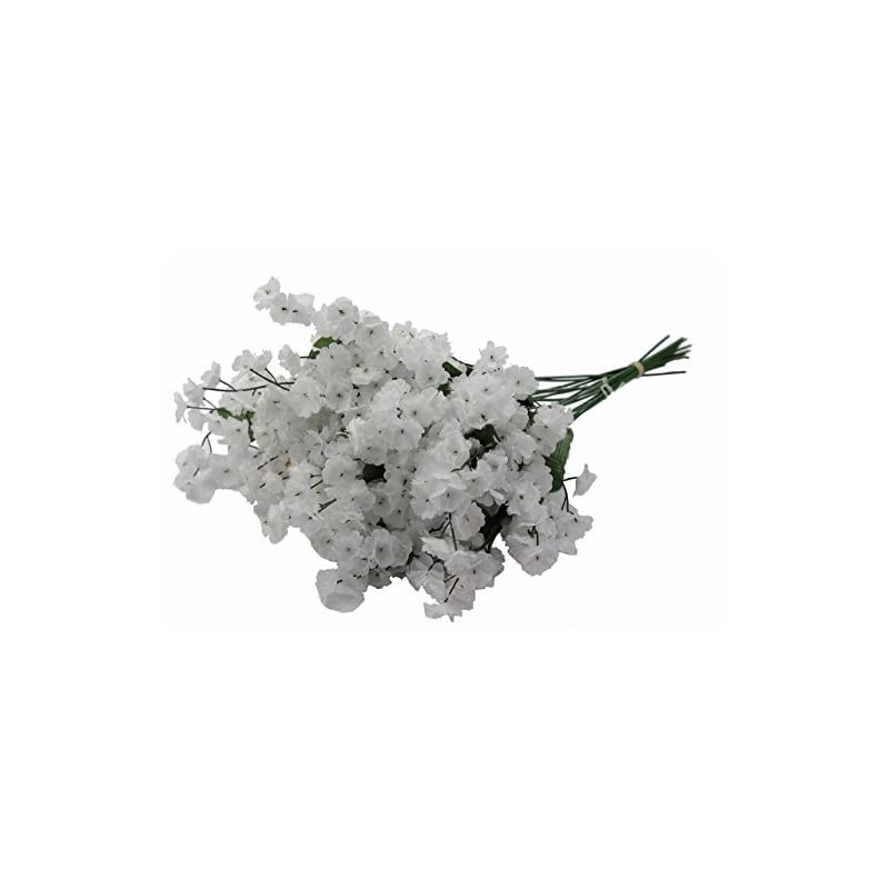 silk flower arrangements admired by nature artificial full blooming baby breath flowers spray for home, wedding, restaurant & office decoration arrangement, white, 3 stems (48 pieces spray)