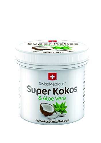 Huile de coco à l'aloe vera SwissMedicus, Hydratant, Pour le visage, le corps, les cheveux, la peau, les lèvres - Parfum naturel de noix de coco, 150 ml