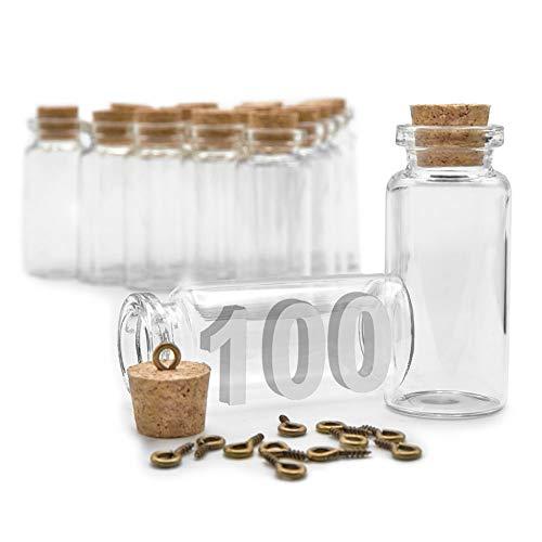 ARTESTAR 100 Piezas 10ml Botes Cristal PequeñOs Tapones De Corcho, Frascos De Cristal con Tapa,Mini Botellas Cristal PequeñAs