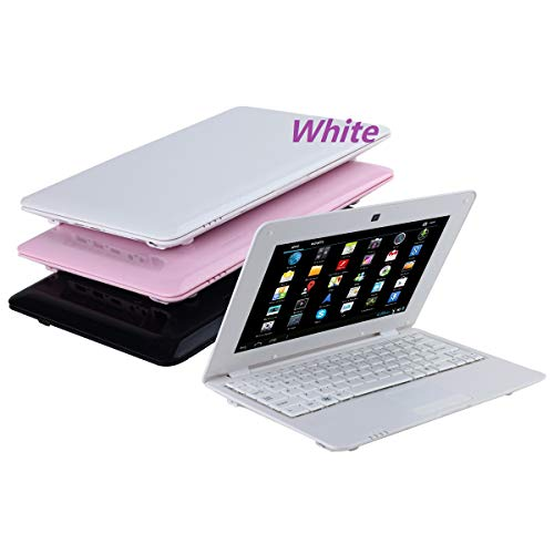 BIGMAC 10.1 Inch Quad Core 8GB Computer Laptop PC Android 6.0 Mini Netbook Slim and Lightweight Notebook WiFi Webcam Netflix YouTube Google Player Flash (White)