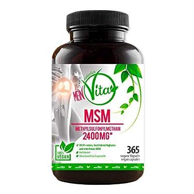 MeinVita MSM – hochdosiert - 2400mg Methylsulfonylmethan pro Tagesdosis- 365 Vegane Kapseln - Laborgeprüft, ohne Magnesiumstearat, hoch bioverfügbares feines MSM, hergestellt in Deutschland, 100%Vegan