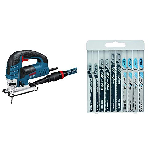 Bosch GST 150 BCE Professional 0601513000 Seghetto alternativo, 780 W + 2607010630 Set 10 Lame Seghetto per Legno/Metallo