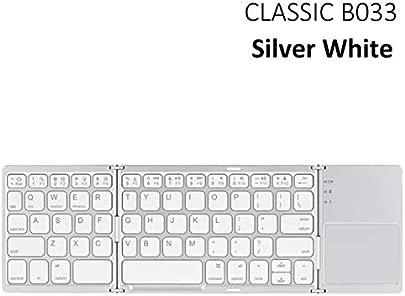 FFDDZJJ Neues bewegliches Bluetooth  das Minitastatur  Faltbare Bt-drahtlose Ber hrungsfl chen-Tastatur f r IOS Android Fenster Ipad Tablette KLASSISCHES Silber B033 faltet