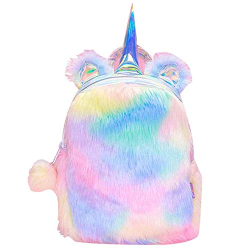 BETOY Cute Plush Unicorn Backpack,Fluffy Mini Unicorn Backpack Bags for Girls Female Travel Plush Soft Rainbow Schoolbag