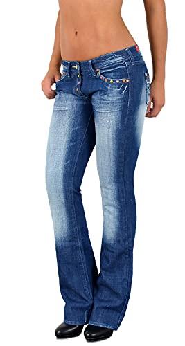 ESRA Damen Jeans Bootcut Jeanshose Schlaghose Damen Hüftjeans Hüfthose bis Übergröße B200