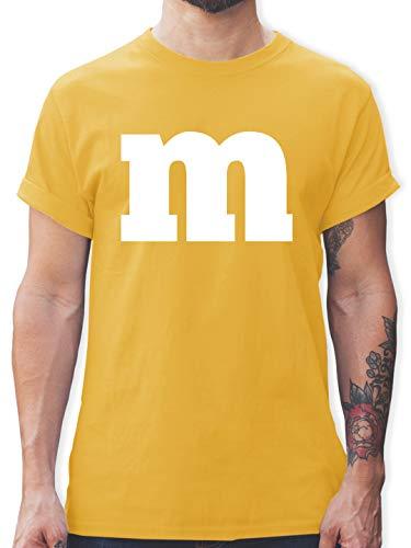Karneval & Fasching - Gruppen-Kostüm m Aufdruck - XL - Gelb - mm kostüm - L190 - Tshirt Herren und Männer T-Shirts